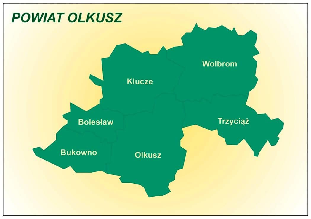 Strategia PCPR 2015-2020 Powiat Olkuski mapka